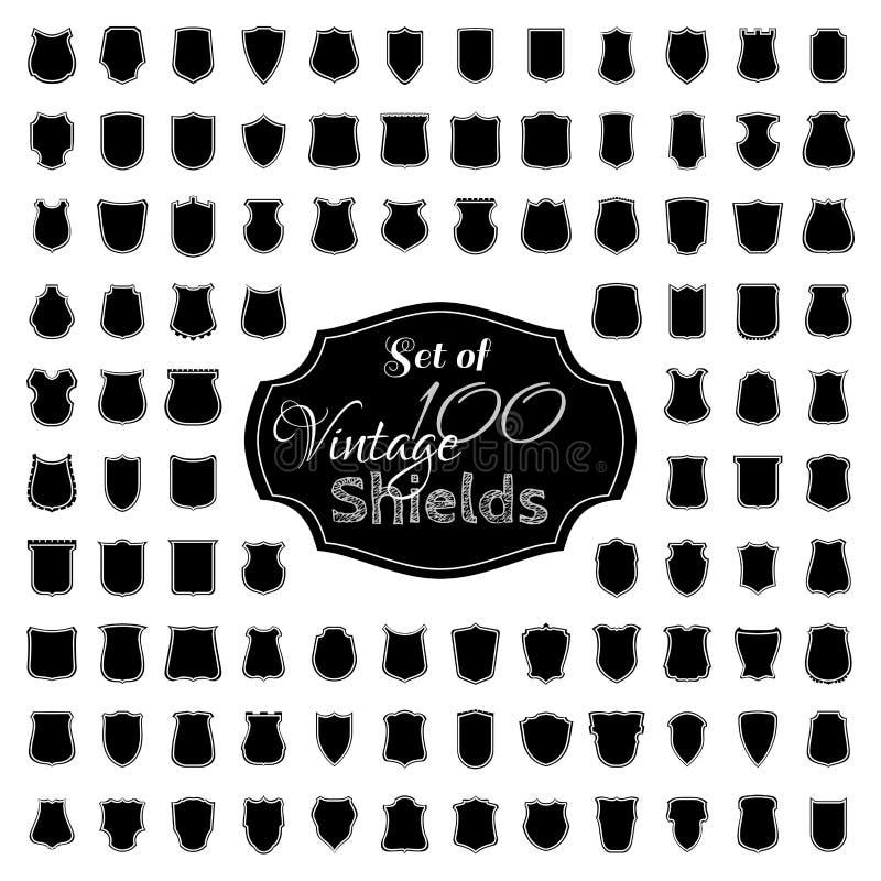 Ensemble de vecteur de 100 boucliers de vintage illustration stock