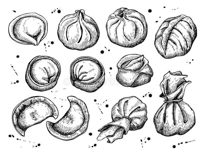 Ensemble de vecteur de boulettes Illustration de croquis de vintage illustration stock