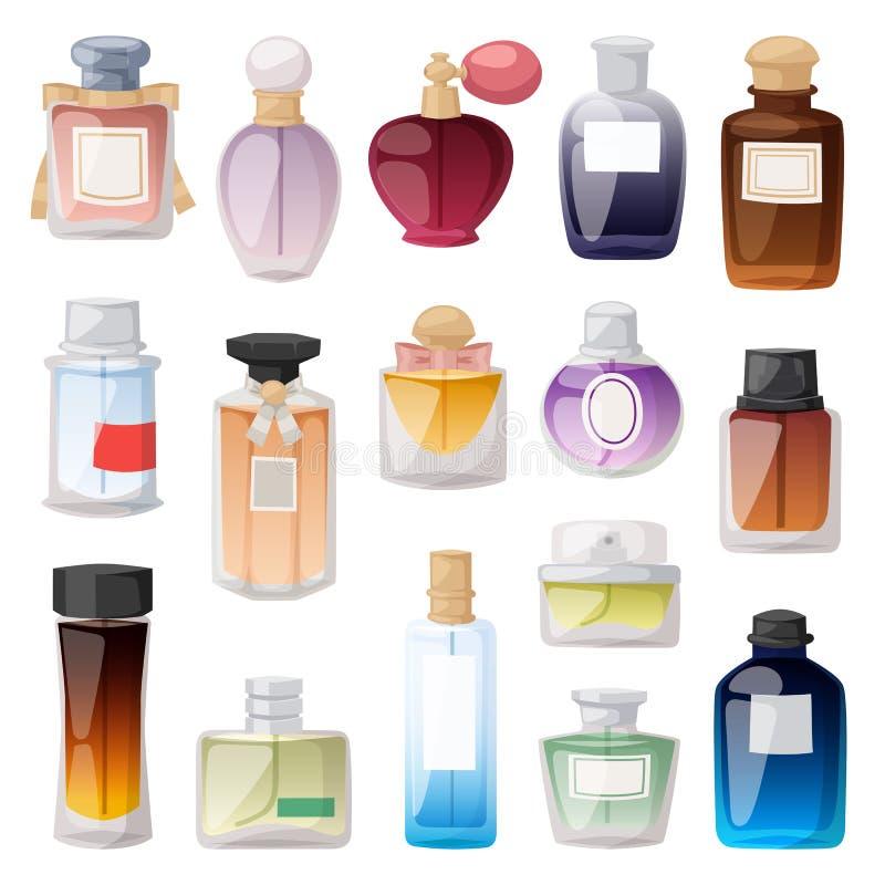 Ensemble de vecteur de bouteille de parfum illustration de vecteur