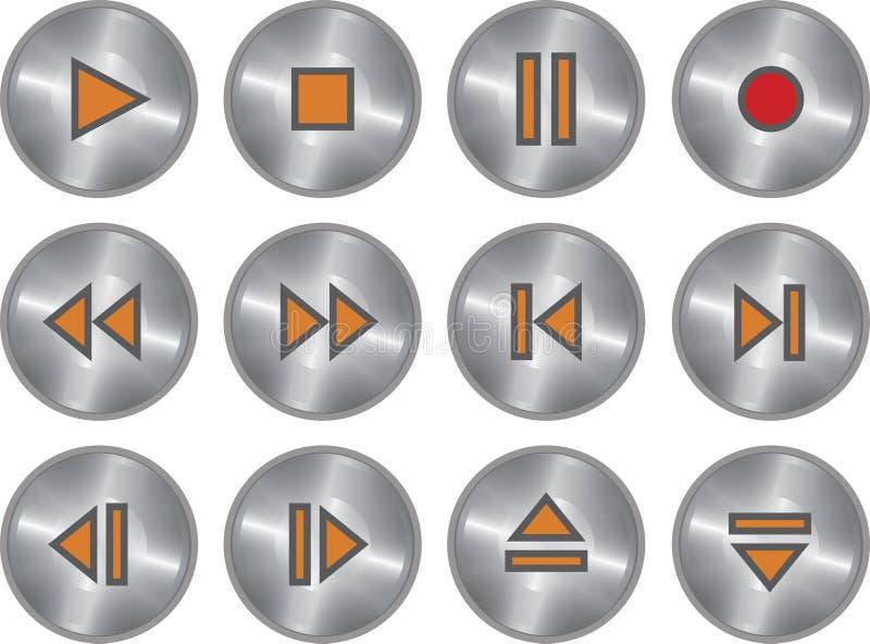 Ensemble de vecteur de boutons métalliques de multimédia illustration de vecteur