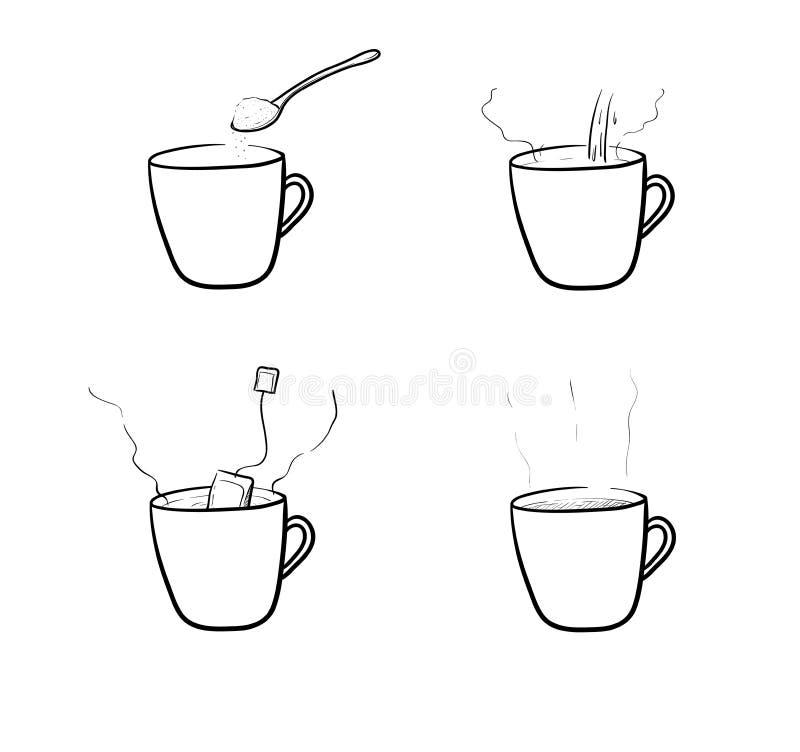 Ensemble de vecteur de brassage de thé illustration de vecteur
