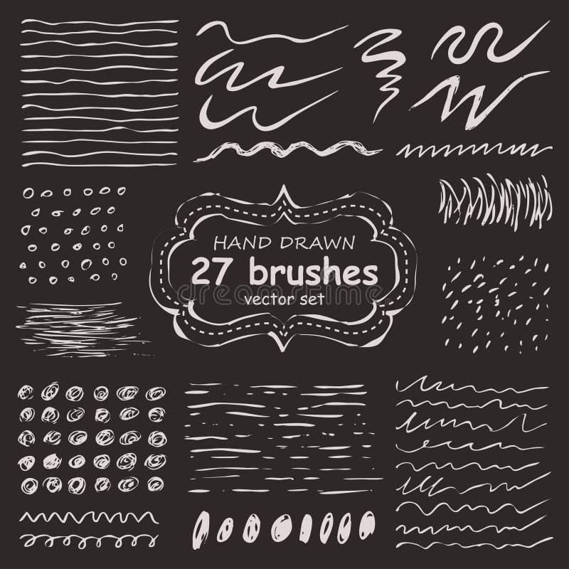 Ensemble de vecteur de 27 brosses tirées par la main de grunge illustration stock