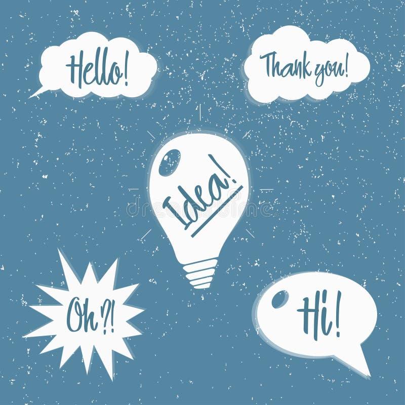 Ensemble de vecteur de bulles de la parole avec des expressions illustration stock