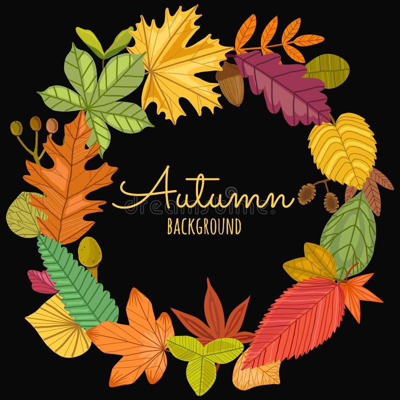 Ensemble de vecteur de cadre rond de feuilles d'automne illustration de vecteur