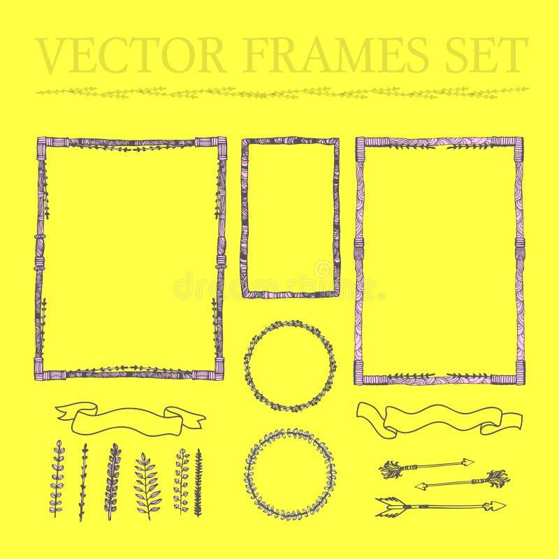 Ensemble de vecteur de cadres carrés et arrondis floraux tirés par la main a illustration libre de droits