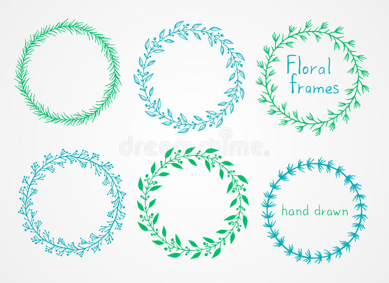 Ensemble de vecteur de cadres ronds tirés par la main floraux illustration libre de droits