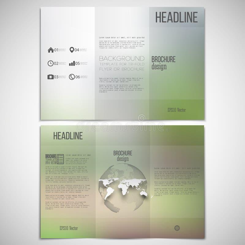 Ensemble de vecteur de calibre triple de conception de brochure dessus illustration stock