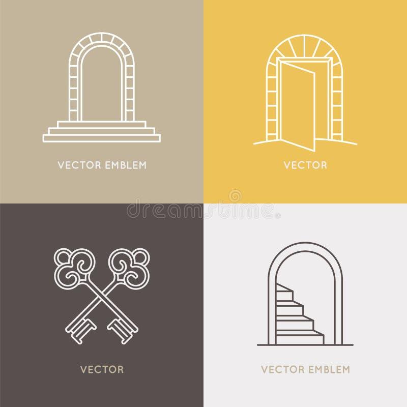 Ensemble de vecteur de calibres et d'emblèmes de conception de logo dans linéaire à la mode illustration stock