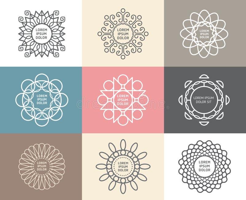 Ensemble de vecteur de calligraphique, concept abstrait de calibres de fleur illustration de vecteur