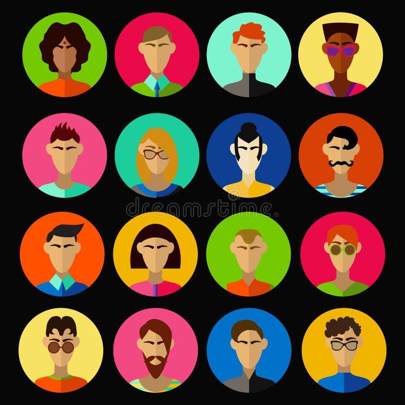 Ensemble de vecteur de caractères d'hommes illustration de vecteur