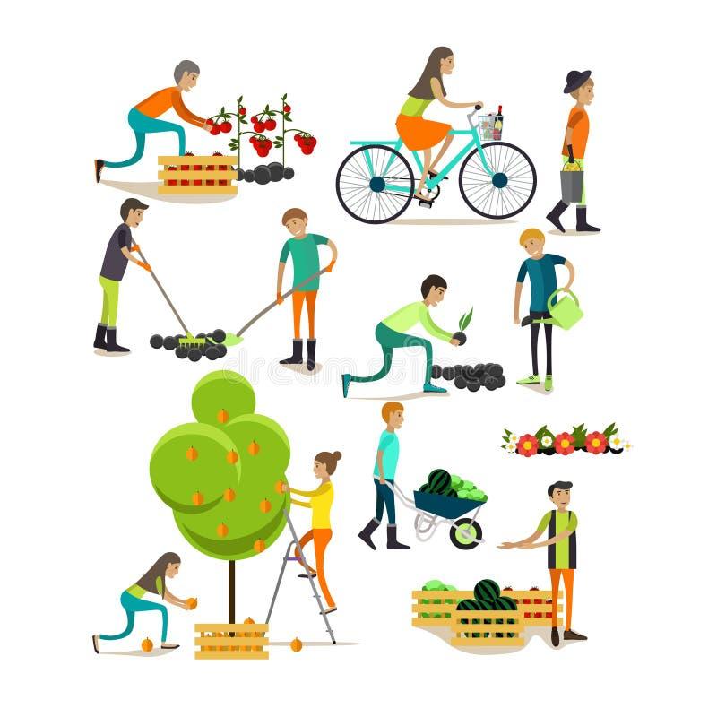 Ensemble de vecteur de caractères de personnes de jardin, icônes dans le style plat illustration libre de droits
