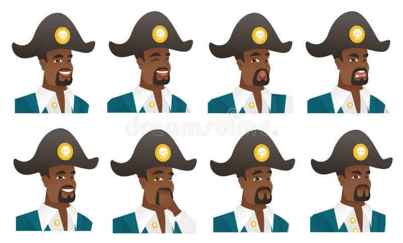 Ensemble de vecteur de caractères de pirate illustration stock