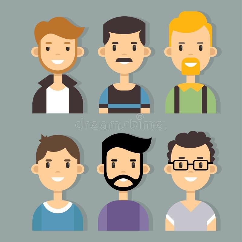 Ensemble de vecteur de caractères masculins élégants dans la conception plate moderne illustration de vecteur