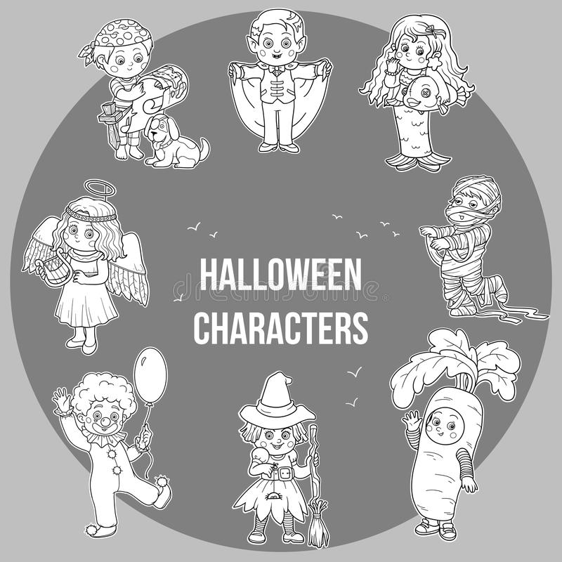 Ensemble de vecteur de caractères mignons de Halloween, collection de bande dessinée illustration libre de droits
