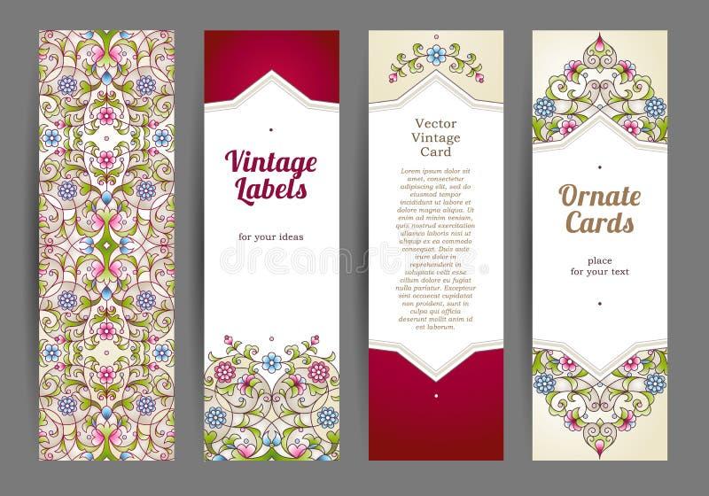 Ensemble de vecteur de carte florale orientale illustration stock