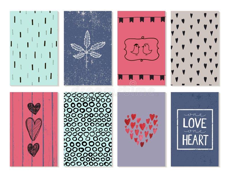 Ensemble de vecteur de cartes d'amour, affiches, bannières Coeurs tirés par la main, milieux, feuille, oiseaux illustration stock