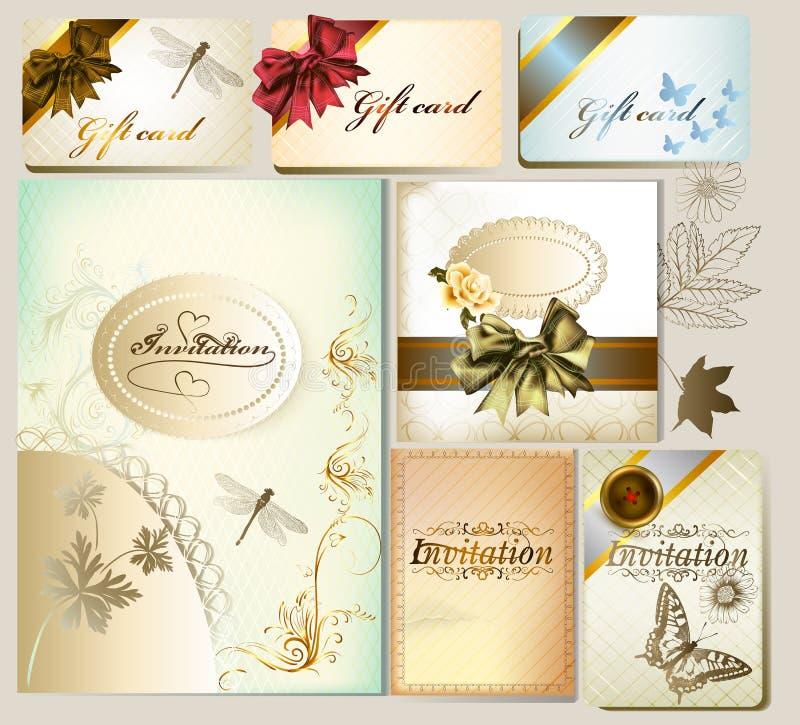 Invitation et chèques-cadeau de luxe avec les éléments et les arcs floraux illustration libre de droits