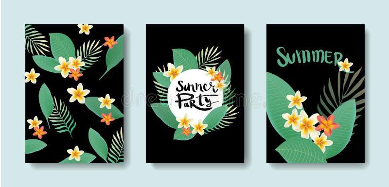 Ensemble de vecteur de cartes postales avec les tropiques illustration stock