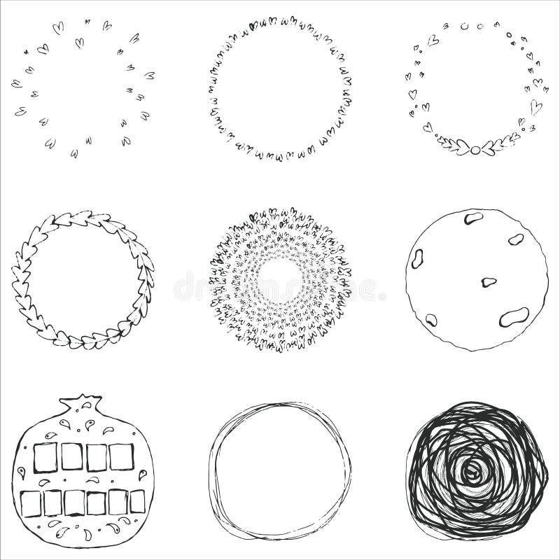 Ensemble de vecteur de 9 cercles tirés par la main de griffonnage Éléments de conception de logo illustration stock