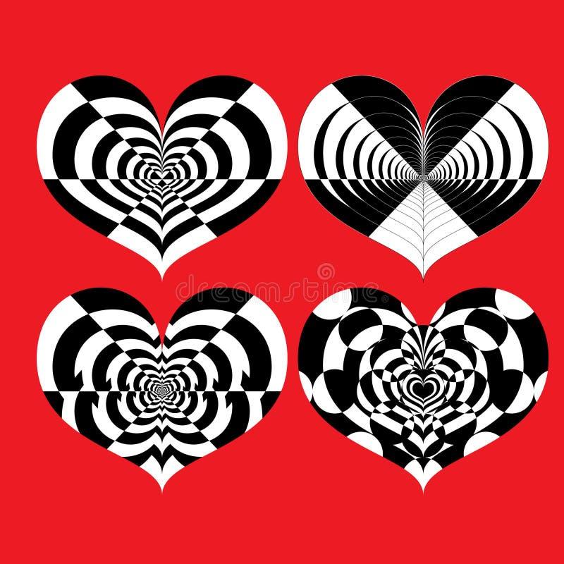 Ensemble de vecteur de coeurs noirs et blancs d'illusion optique sur le fond rouge illustration libre de droits
