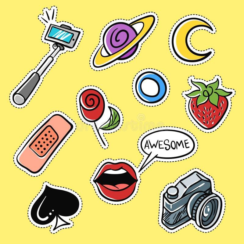 Ensemble de vecteur de corrections à la mode : bâton de selfie, lèvres, fraise illustration libre de droits