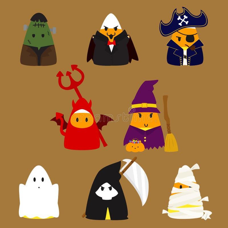 Ensemble de vecteur de costumes de Halloween de bonbons au maïs illustration libre de droits