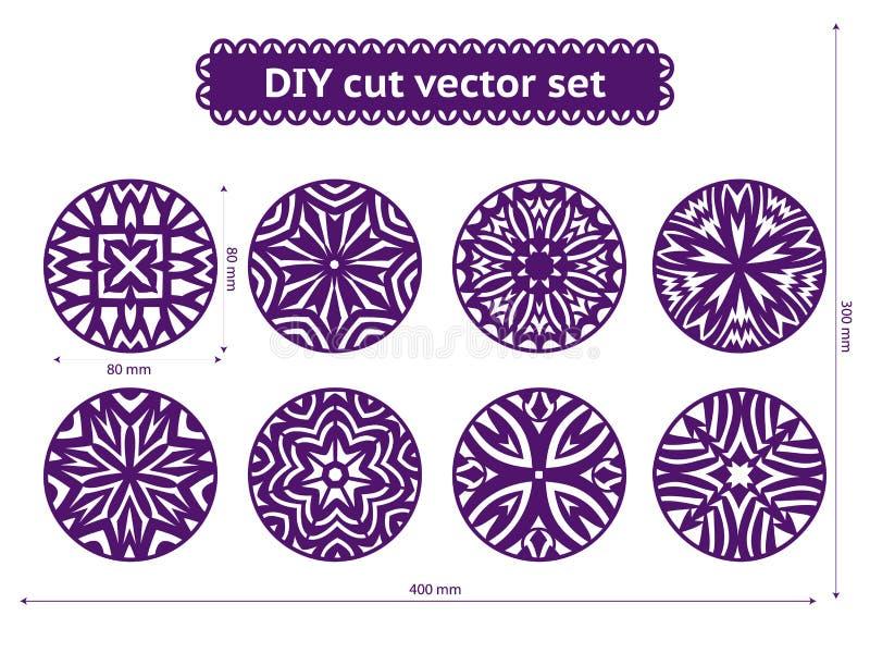 Ensemble de vecteur de coupe de DIY Conceptions ethniques abstraites de cercle illustration stock