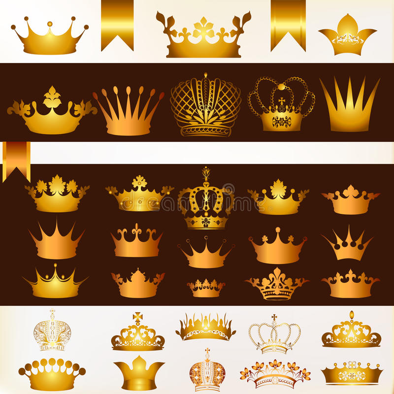 Ensemble de vecteur de couronnes pour votre conception héraldique illustration stock