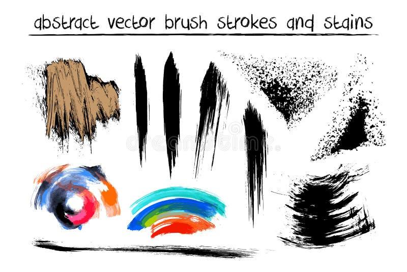 Ensemble de vecteur de courses abstraites tirées par la main de brosse illustration libre de droits