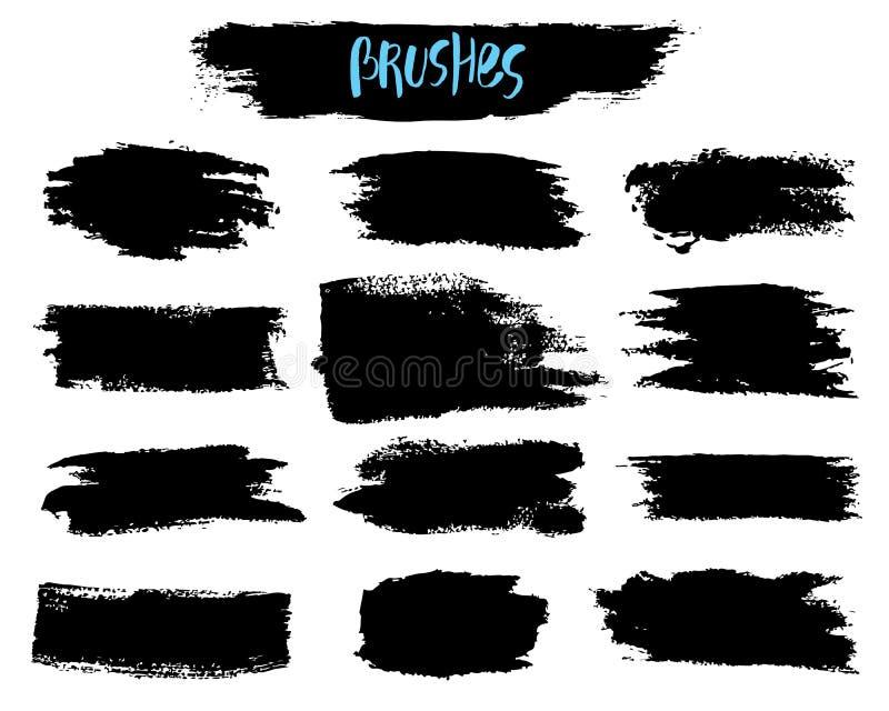 Ensemble de vecteur de courses d'acrylique de brosse Couleur noire sur le fond blanc Éléments peints à la main de grange Dessin d illustration libre de droits