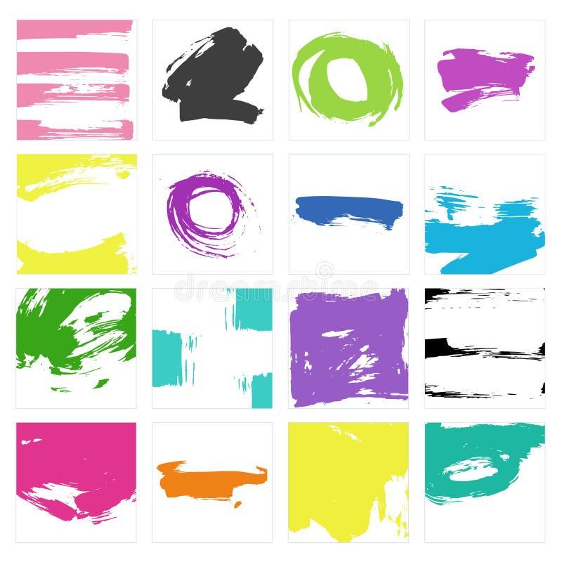 Ensemble de vecteur de courses grunges colorées de brosse dans les places sur le fond blanc illustration stock