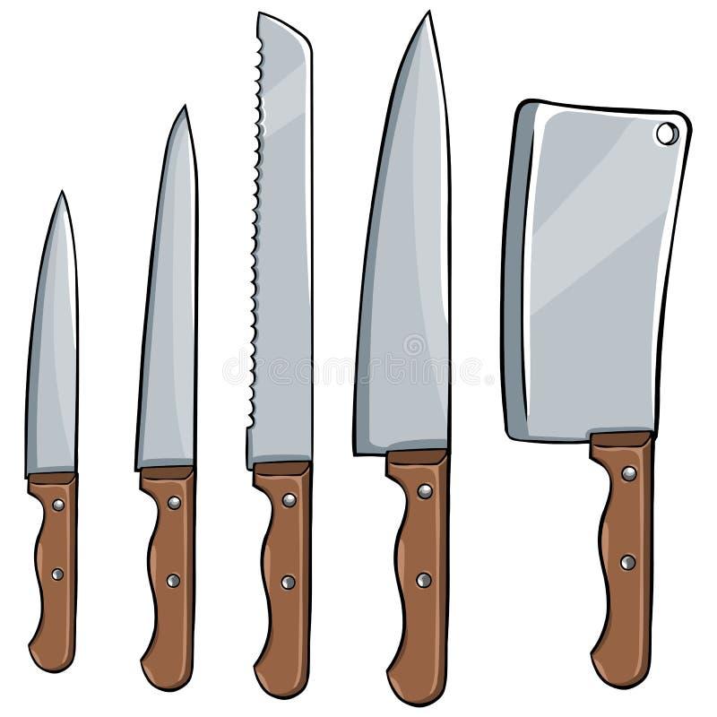 Ensemble de vecteur de couteaux de cuisine illustration stock