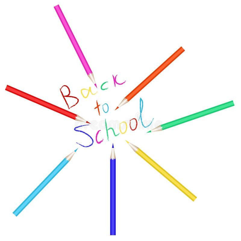 Download Ensemble De Vecteur De Crayons Colorés L'inscription De Nouveau à L'école écrite Avec Les Crayons Colorés Illustration de Vecteur - Illustration du papeterie, abord: 76090680