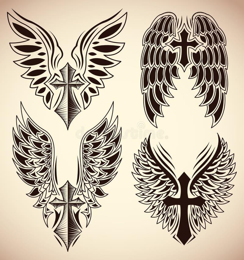 Ensemble de vecteur de croix et d'ailes - tatouage - éléments illustration stock