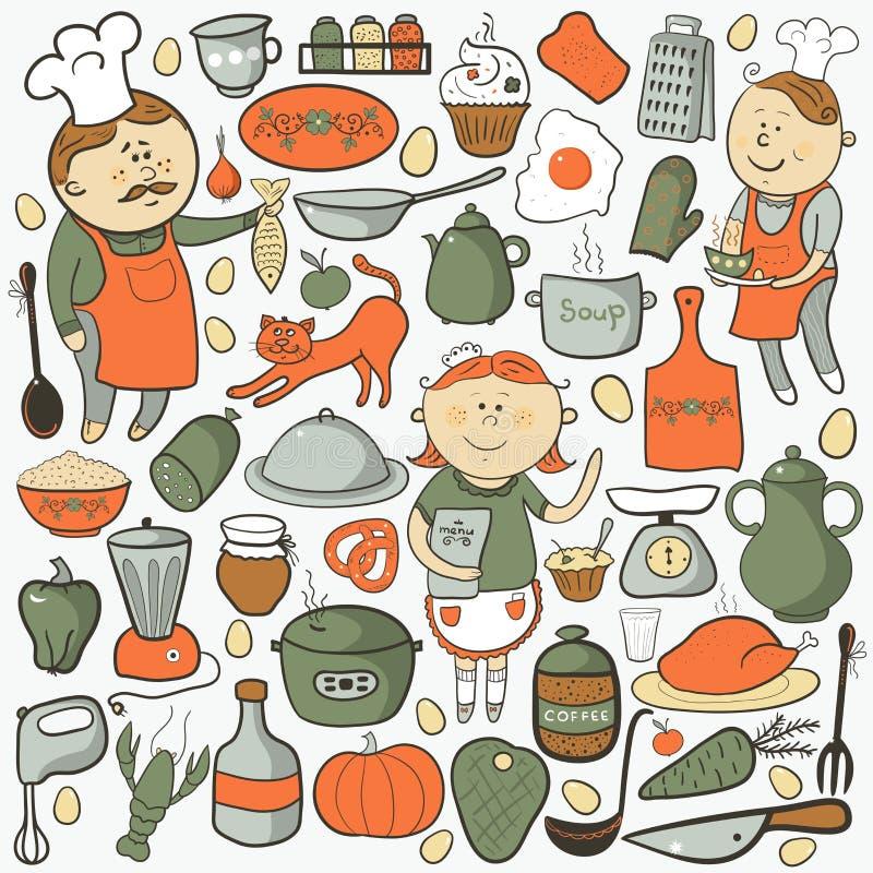 Ensemble de vecteur de cuisine, éléments colorés de bande dessinée illustration libre de droits