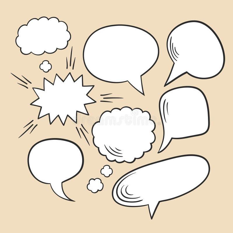 Ensemble de vecteur de différentes bulles comiques de la parole illustration de vecteur