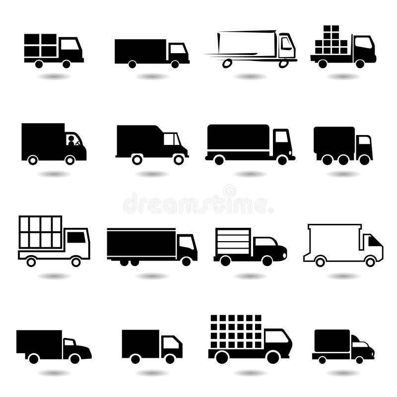 Ensemble de vecteur de différentes icônes de camion. illustration libre de droits