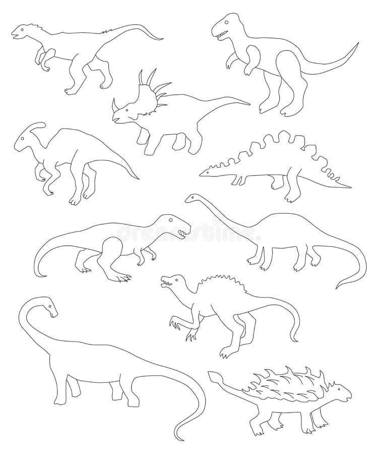 Ensemble de vecteur de différents dinosaures de bande dessinée illustration stock