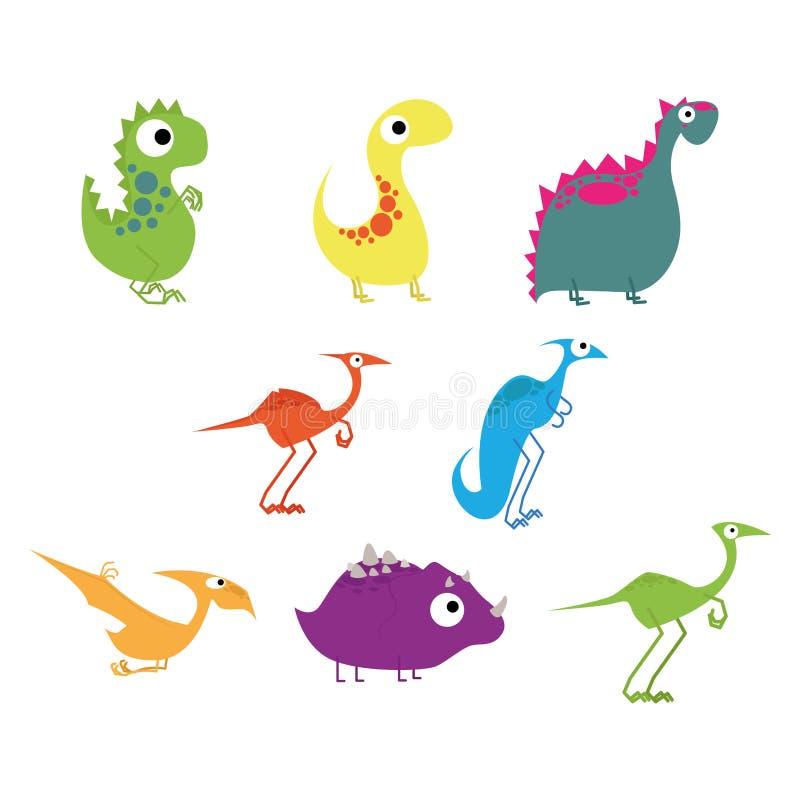 Ensemble de vecteur de différents dinosaures mignons de bande dessinée illustration de vecteur