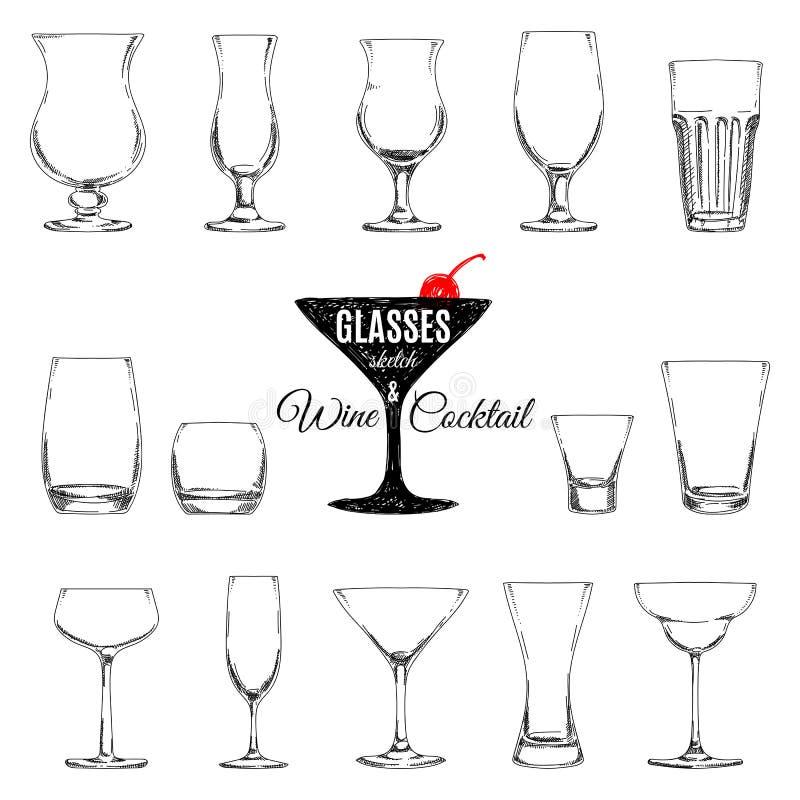 Ensemble de vecteur de différents verres pour des boissons illustration libre de droits