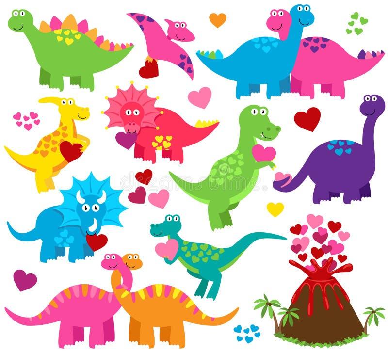 Ensemble de vecteur de dinosaures orientés de Saint-Valentin ou d'amour illustration de vecteur
