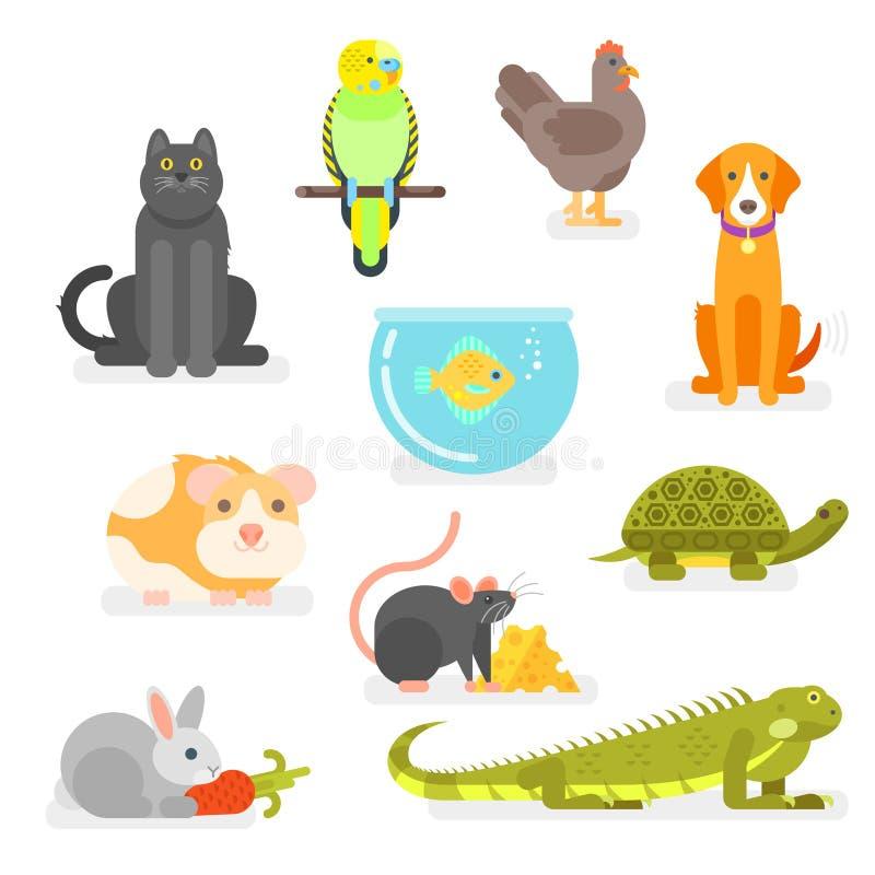 Ensemble de vecteur de divers animaux familiers à la maison illustration stock