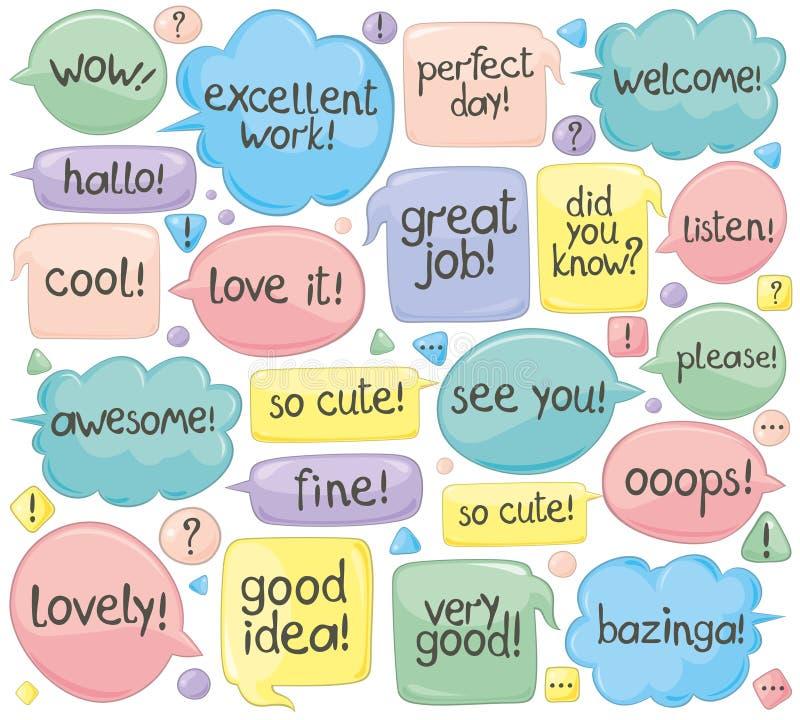 Expressions manuscrites dans des ballons de la parole illustration stock