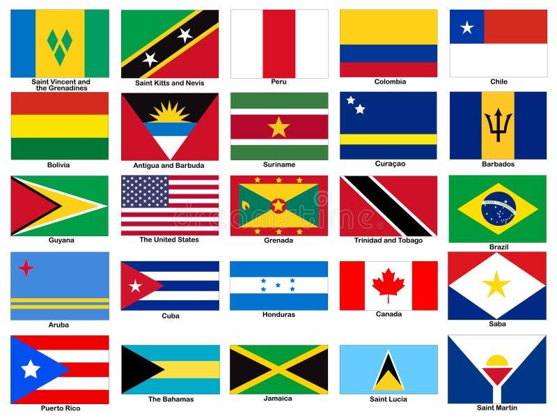 Ensemble de vecteur de drapeaux de continent de l'Amérique illustration libre de droits