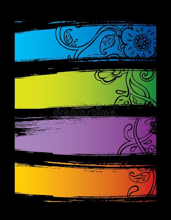 Ensemble de vecteur de drapeaux de couleur illustration de vecteur