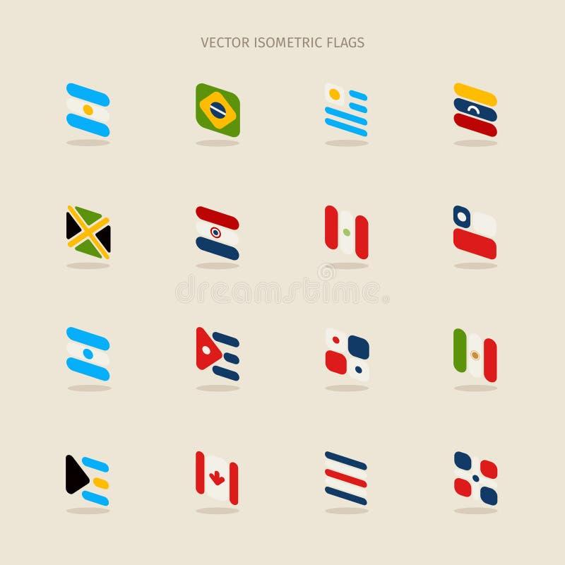 Ensemble de vecteur de drapeaux isométriques de l'Argentine, Brésil, Uruguay, TSV illustration de vecteur