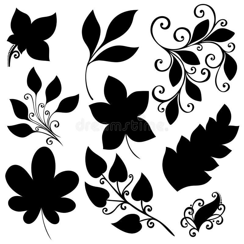 ensemble de vecteur de feuilles pochoirs d 39 isolement illustration de vecteur image 43721321. Black Bedroom Furniture Sets. Home Design Ideas