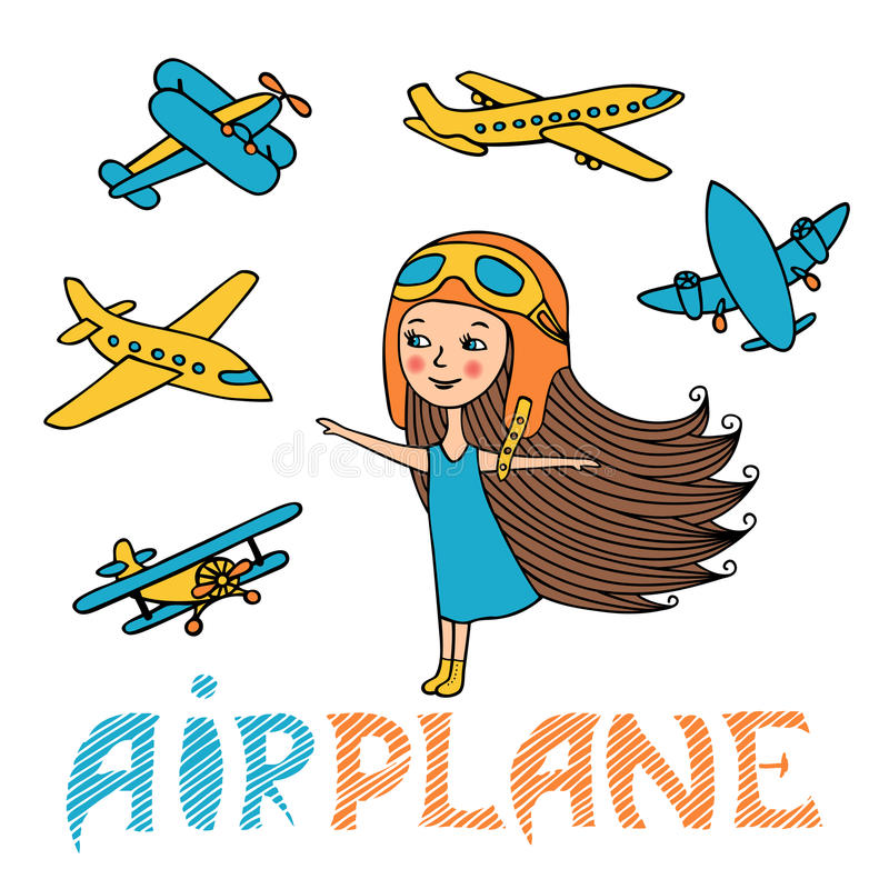 Ensemble de vecteur de fille et d'avions illustration stock