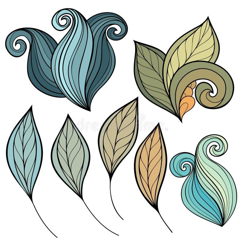 Ensemble de vecteur de fleurs et de feuilles colorées de découpe illustration libre de droits