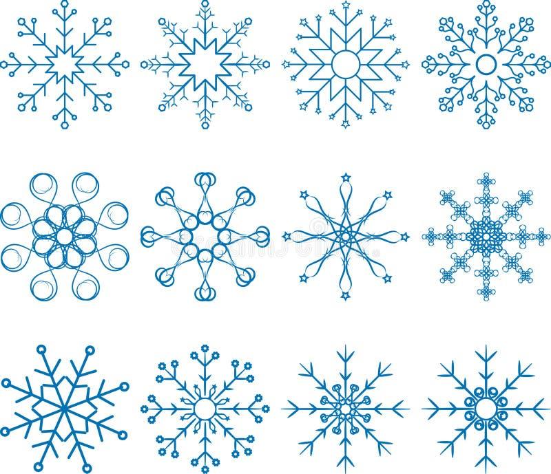 Ensemble de vecteur de flocon de neige illustration libre de droits